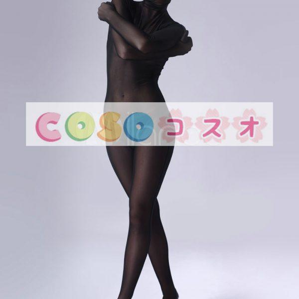 全身タイツ,ベルベット全身タイツ 開口部のない ブラック コスチューム衣装―taitsu-tights0142 1