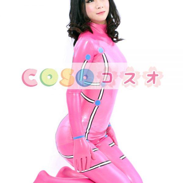 コスチューム衣装 全身タイツ メタリック ピンク レオタード ジャンプスーツ 大人用 女性用 ―taitsu-tights0144 1
