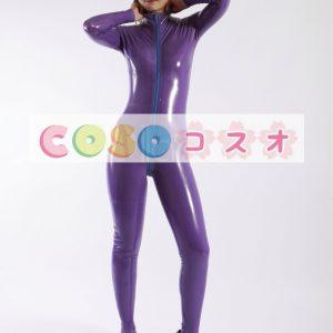 ラテックスキャットスーツ,パープル ボディースーツ ユニセックス 大人用 コスチューム―taitsu-tights0160