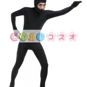 全身タイツ ブラック 単色 顔部分が開いている全身タイツ 大人用 変装コスチューム ユニセックス ―taitsu-tights0224