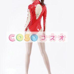 ラテックスキャットスーツ,セクシー レッド 女性用 レオタード コスチューム衣装―taitsu-tights0225