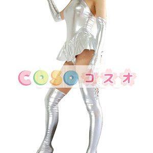 全身タイツ,メタリック 女性用 シルバー 大人用 スカート付き コスチューム衣装―taitsu-tights0403