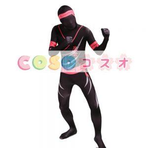 全身タイツ,ブラック 忍者 ユニセックス カラーブロック 大人用 開口部のない全身タイツ 仮装コスチューム ―taitsu-tights0456