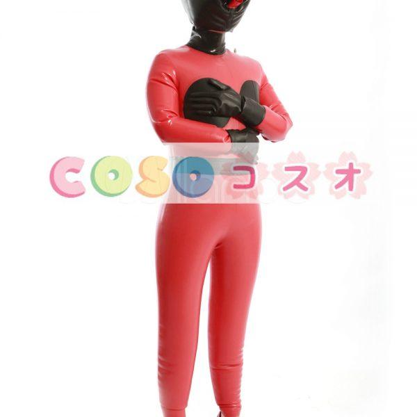 ラテックスキャットスーツ,レッド&ブラック ユニセックス 大人用 コスチューム衣装―taitsu-tights0504 1