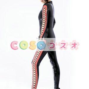 ラテックスキャットスーツ,ファッション ブラック コスチューム衣装 仮装パーティー―taitsu-tights0565