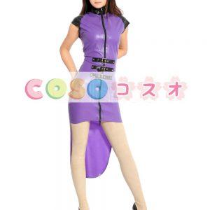 ラテックスドレス,パープル セクシー ファッション コスチューム衣装 タキシード ―taitsu-tights0611