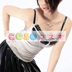 ラテックスドレス,ボディコン ブラック&ホワイト ファッション プリーツ コスチューム―taitsu-tights0621
