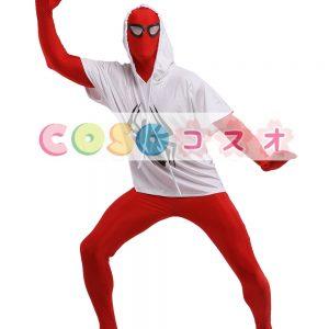 全身タイツ,レッド 目が開いている 白いTシャツ 蜘蛛の柄 変装コスチューム―taitsu-tights0831