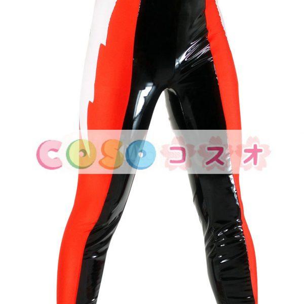 全身タイツ PVC ズボン ブラック&レッド ユニセックス 大人用 カラーブロック レスリング―taitsu-tights0952 1