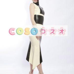 ラテックスドレス,ロングドレス セクシー カラーブロック アシンメトリードレス コスチューム―taitsu-tights0990