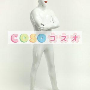 全身タイツ,PVC ホワイト 目と口が開いている ユニセックス 大人用 コスチューム―taitsu-tights0992
