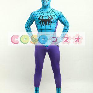 全身タイツ,紫色&ブルー スパイダーマン風 目が開いているタイツ コスチューム衣装―taitsu-tights1031