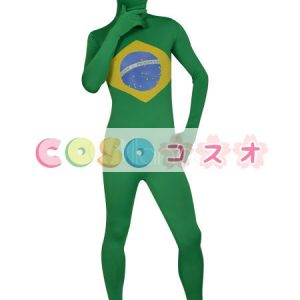 全身タイツ ブラジルの国旗柄 ユニセックス 大人用 コスチューム衣装 コスプレ ―taitsu-tights1119