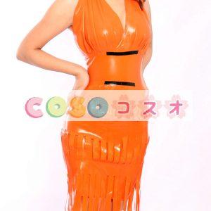 ラテックスドレス,オレンジ色 Vネック ミニドレス セクシー コスチューム コスプレ ―taitsu-tights1210