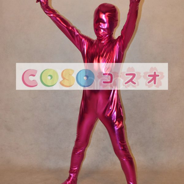 メタリック全身タイツ,フクシア ユニセックス 子供用 コスチューム衣装 開口部がない  ―taitsu-tights1252 1