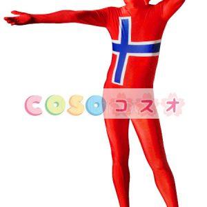 全身タイツ,ノルウェーの国旗柄 ユニセックス 大用 コスチューム衣装 コスプレ ―taitsu-tights1290