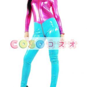 全身タイツ,PVC ユニセックス 大人用  ピンク&ブルー コスチューム―taitsu-tights1112