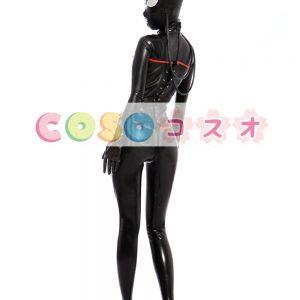 ラテックスキャットスーツ,ブラック&レッド コスチューム衣装 変装パーティー―taitsu-tights0192