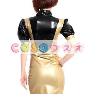 ラテックスドレス,セクシー ゴールド&ブラック ミニドレス ボディコン コスチューム ―taitsu-tights0294