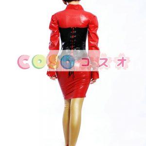ラテックスドレス,レッド ボディコン ロングスリーブ ファッション コスチューム―taitsu-tights0488