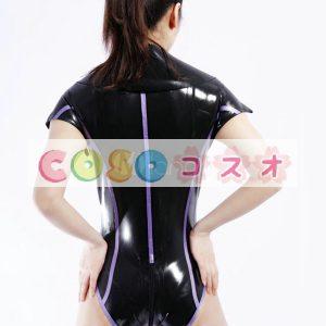 ラテックスキャットスーツ,ブラック セクシー レオタード コスチューム衣装 ―taitsu-tights0636