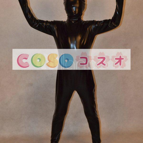 メタリック全身タイツ,ブラック ユニセックス 子供用 コスチューム衣装 開口部がない ―taitsu-tights0719 1