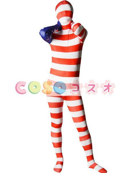 全身タイツ アメリカンの国旗柄 ユニセックス 大人用 コスチューム衣装 コスプレ ―taitsu-tights1224 1