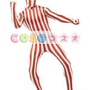 白いオレンジ ライクラ スパンデックス ストライプ ユニセックス ゼンタイ スーツ―taitsu-tights1229
