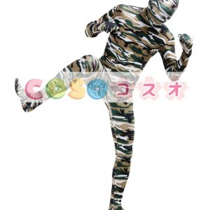 全身タイツ,迷彩柄 ホワイト コスチューム 開口部のない全身タイツ ユニセックス 大人用―taitsu-tights1437