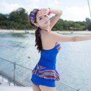 メール便送料無料♪(yuuwa) ワイヤー付き ワンピース水着 水着 ブルー  水着ー即日発送激安通販-YMS4166