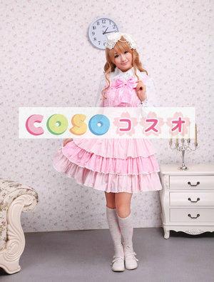 ロリータジャンパースカート,ピンク リボン ラッフル スィート 女の子らしさ満点 コットン  ―Lolita0008 1