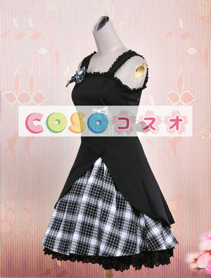 ロリィタジャンパースカート ギンガム ブラック コットン スウィート ―Lolita0012 1