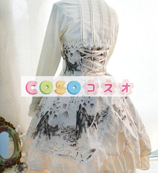 ロリィタワンピース チャイナドレス 長袖 チャイナインク 龍 ―Lolita0017 1