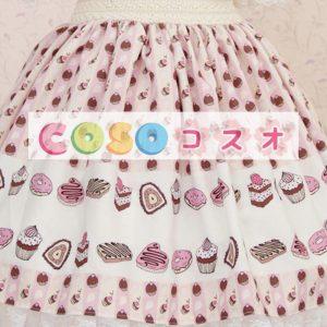 ロリータ服,スカート ライラックカラー スィート プリント柄 レース付き  ―Lolita0018