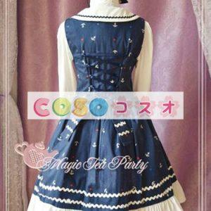 ジャンパースカート ロリィタドレス ブルー スクエアカラー プリント コットン ―Lolita0039