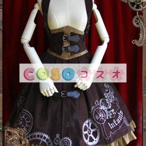 クラシック スチームパンク ロリィタジャンパースカート 歯車 プリント ―Lolita0043