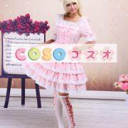 スウィート ロリィタワンピース レーストリム ピンク 半袖 ―Lolita0044
