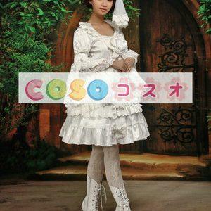 ホワイト ワンピース 長袖 姫袖 レーストリム フリル リボン ポリエステル ―Lolita0046