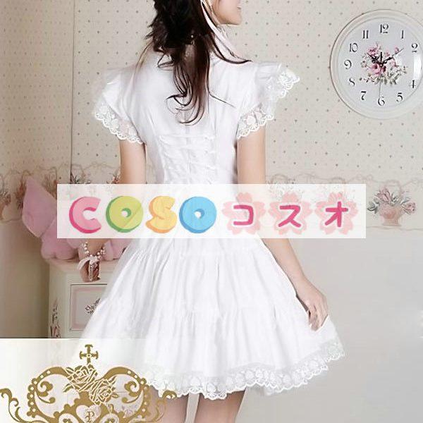 甘いの純粋な綿スタンド襟フリルの付いたロリータワン ピース ―Lolita0049 1