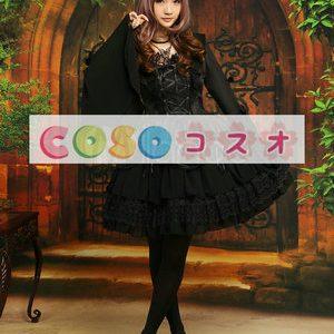 ブラックワンピース ロリィタドレス 長袖 姫袖 レースアップ レーストリム ―Lolita0050