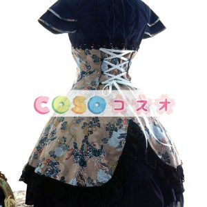 ディープブルー コットン チャイナワンピース 半袖 ポプリン 麒麟プリント ―Lolita0052