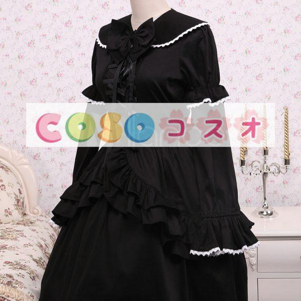 コットン ブラック ロリィタワンピース レースアップ フリル リボン 長袖 ―Lolita0059 1