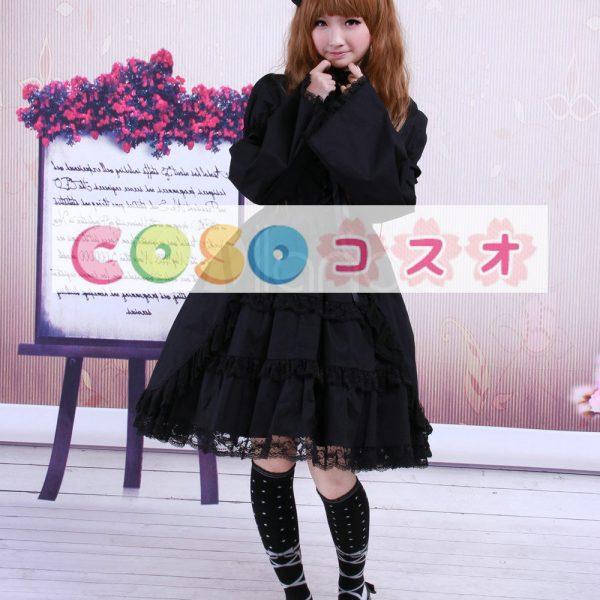 コットン ブラック ロリィタワンピース 長袖 レーストリム ―Lolita0070 1