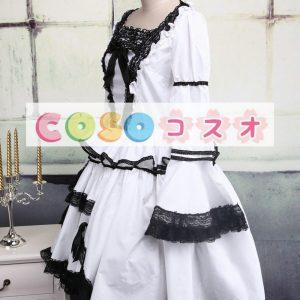 ホワイトワンピース ロリィタワンピース ブラックレーストリム 長袖 ―Lolita0080