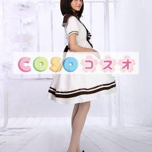 ロリィタ服 ホワイト ワンピース セーラースタイル 半袖 リボン ―Lolita0087