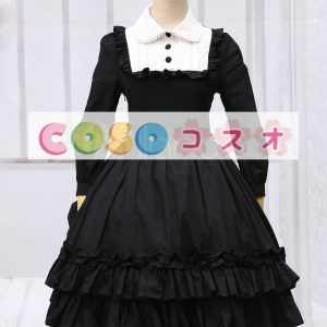 ゴシック ブラック ロリィタワンピース 長袖 フリル ―Lolita0088