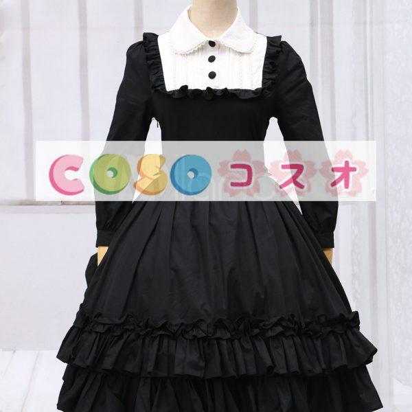 ゴシック ブラック ロリィタワンピース 長袖 フリル ―Lolita0088 1