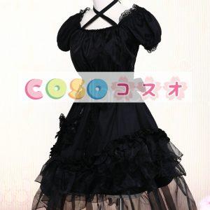 ブラック ワンピース 半袖 レーストリム ロリィタワンピース ティアード  ―Lolita0095