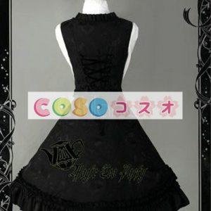 甘い黒の純粋な綿ボー フリル ロリータ ジャンパー スカート ―Lolita0096