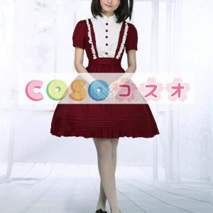ワインレッド コットン ワンピース ロリィタ服 半袖 レーストリム ―Lolita0100